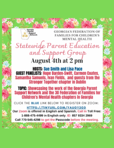 Statewide Parent Education and Support Group Zoom Event for August